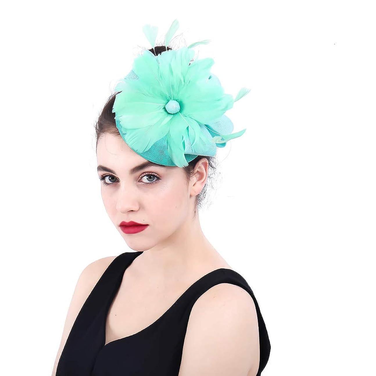 むしゃむしゃ知人分割女性の魅力的な帽子 女性のエレガントな魅惑的な帽子の羽の花の結婚式のヘアピンヘッドドレスロイヤルアスコットカクテルティーパーティー (色 : 青)