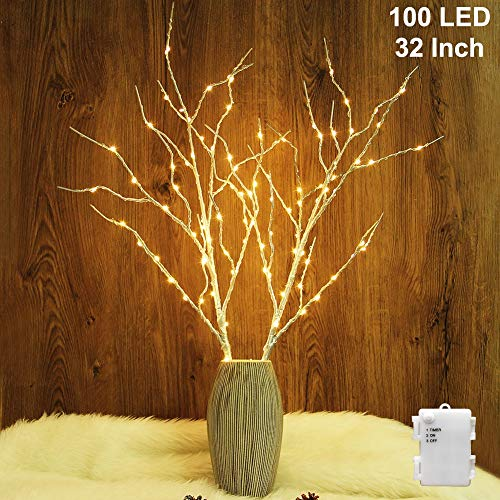 Twinkle Star 100 LED Lighted Silver Willow Branches 2 Pack Artificial Branches Waterproof Battery Operated with Timer for Indoor Outdoor Christmas Wedding Party Home Decoration (Vase Excluded)