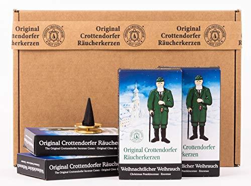 Crottendorfer Räucherkerzen - Weihnachtlicher Weihrauch 4er Pack - in Geschenkverpackung mit Messingteller (4 x 24 Stück)