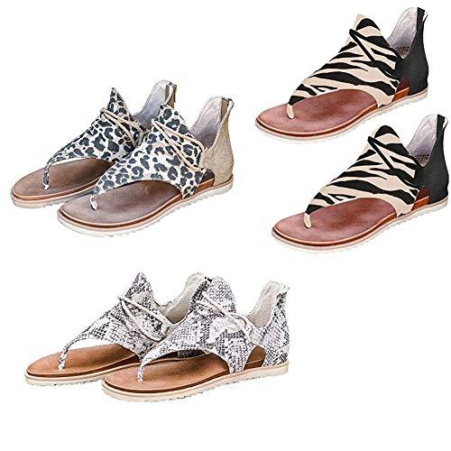 Sandalias con Estampado de Leopardo para Mujer Zapatillas con Punta de Clip Correa con Cordones Zapatos con Sandalias Cruzadas