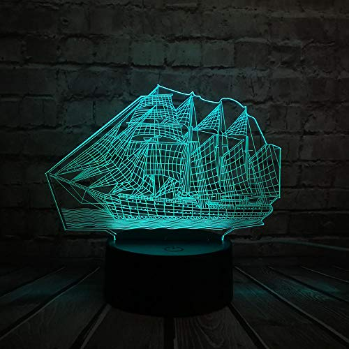 Atvvsovs Led Night Lights 3D Illusion Bedside Table Lamp 16 Colours Vintage Sailing Boat Changing Sleeping Lighting with Smart Touch Button Cute Gift Warming Present Creative Decoration Ideal Art A