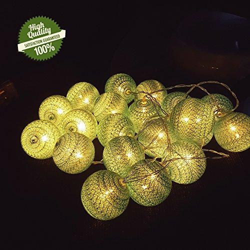 Morbuy LED Lichterkette mit Kugeln, 6CM Baumwollkugeln Mit 10/20/30 Bällen Batteriebetrieben Deko Licht Festlich Party Cotton Ball Themen Weihnachten Licht (1.8m/ 10 Lichter, See Grün)