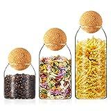 Tarro de Vidrio de Almacenamiento Botes de Cristal de Cocina con Tapa Recipientes Organizador de Comida Tarros Hermeticos para Especias Cereales, 500ML/750ML/1000ML