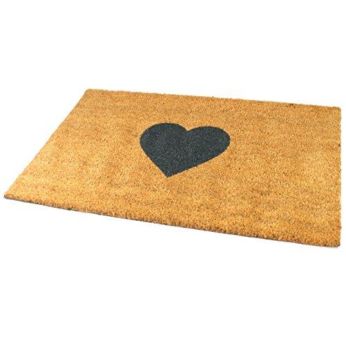 Black Ginger, tappetino decorativo grande in spessa fibra di cocco con disegni dal mondo della natura Heart