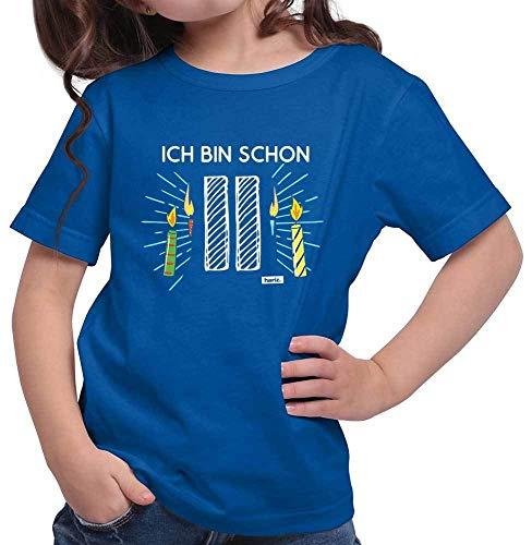 Hariz - Camiseta para niña (11 números, incluye tarjeta de regalo), diseño de velas azul real 140 cm(9-11 År)