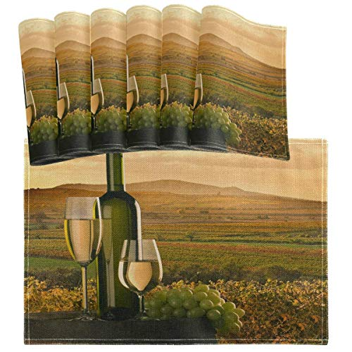 Juego de 6 manteles individuales de vino blanco con diseño de uva, estilo vintage viñedo, barril, atardecer, resistente al calor, lavable, limpieza de cocina, para decoración de mesa de comedor