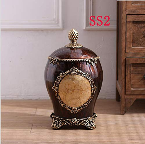 XZSH Retro Luxe Trash Can American Living Room Slaapkamer Coffee Table Decorations Ornamenten opslag Barrel Puin Barrel Startpagina (Size : SS2)
