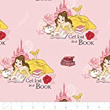 Disney Beauty and the Beast Fabric Belle Lost in a Book in Light Pink From 100% Cotton By the Yard