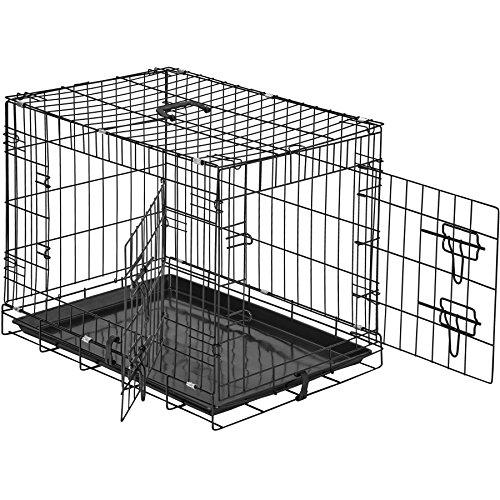 TecTake 800515 Hundekäfig Transportbox | 2 große Türen mit Riegeln | Zusammenklappbar - Verschiedene Größen (60 x 44 x 51 cm | Nr. 402293)