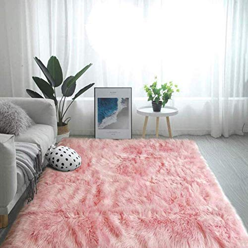 YWYW Faux Fur Sheepskin Rug, Soft Fluffy Shaggy Mat for Kitchen Bedroom Bathroom Living Room Chair Dining Seat Cushion, Pink, 70 * 100cm / 27.6 * 39.4in