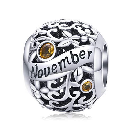 BAMOER Kamień urodzeniowy zawieszki do bransoletki srebro wysokiej próby 925 prezenty urodzinowe dla kobiet dziewcząt e podstawa posrebrzana, colore: Listopad-11, cod. GXC1385-11+GW0040-S