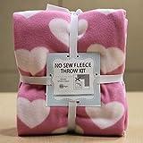 Hearts On Pink No-Sew Throw Fleece Fabric Kit (50x60)