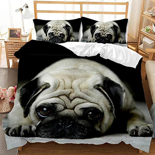 QIAOJIN Juego de ropa de cama 3D de gatos y perros, 100% microfibra, estampado de animales en 3D, bonita funda nórdica y funda de almohada con cremallera, para niños y niñas (260 x 220 cm)