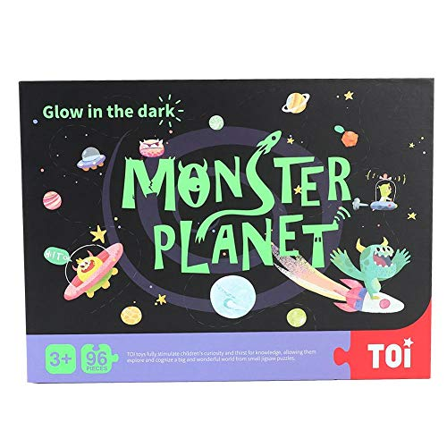 96Pcs Rompecabezas Juguete para niños Night Light Kid Child Jigsaw Puzzle, Animal Traffic Monster Planet Theme Divertido Juguete educativo juguete para niños (planeta)
