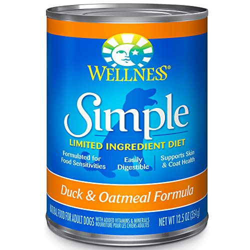 Wellness Simple Natural Wet Canned Limited Ingredient Dog Food, Duck & Oatmeal, 12.5-Ounce Can (Pack Of 12)