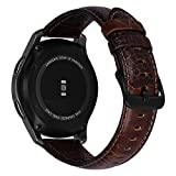 MroTech Cinturino 22mm Pelle Compatibile per Samsung Gear S3 Frontier Classic/Galaxy Watch 46mm/Huawei Watch 2 Classic/GT/GT Active/Elegant/GT2 22 mm Banda di Ricambio Vera Pelle-Retro Texture caffè