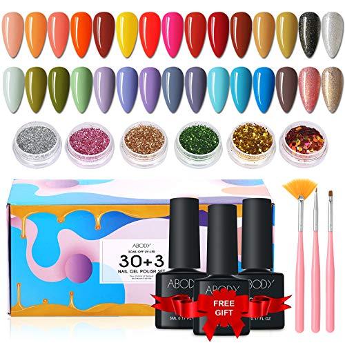 Esmaltes Semipermanentes, Abody 43PCS Esmalte de Uñas en Gel UV LED, Incluye 30 Colores Esmaltes de Uñas, con Base, Capa Superior Brillante y Mate, 6 Brillos, 3 Cepillos, Limas de Uñas