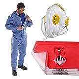The Chemical Hut persönliche Schutzbekleidung, Asbest-Entfernungs-Set–1 x XL-Größe Overall, 10 xrote & 10 x transparente Abfallsäcke und 1 x faltbare Gesichtsmaske mit Ventil