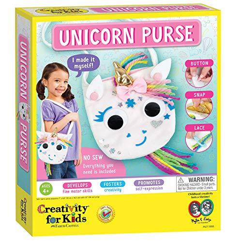 Creativity for Kids Unicorn Purse - Create A No Sew Fabric Unicorn Bag - Crafts - Boosts Fine Motor Skills for Preschoolers, White