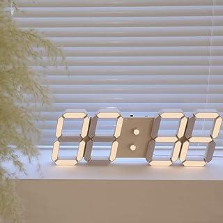 ROIRETNI アプリコットクリームスマートLEDデジタル時計、壁掛け時計、壁け時計 - 明るさの自動調整、アラーム、タイマー、カレンダー、温度計、非振動、無騒音 - 1年保証