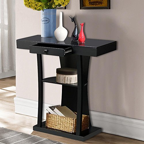 Topeakmart Black 3 Tier Console Table Entryway Table w/Centre Drawer Open Shelves