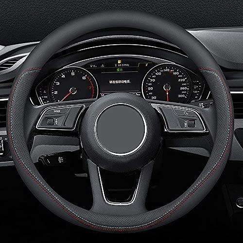 Carodi Latest Nappa Leather car Steering Wheel Cover, Stylish Non-Slip Leather car Interior 15 inches Universal(Black)