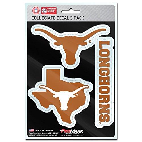 NCAA Texas Longhorns Team Decal, 3-Pack