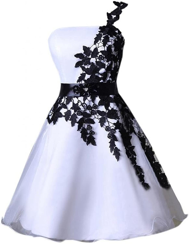 Blevla One Shoulder Lace Appliques Short Bridesmaid Prom Dress Cocktail Dress