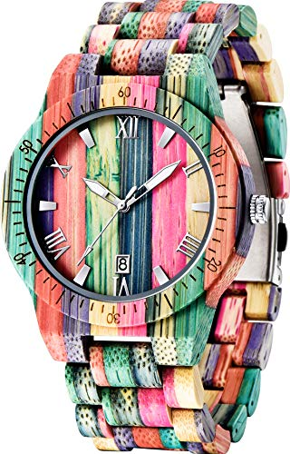 Men Watches with Handmade Colorful Bamboo Wood Watch Analog Quartz Wooden Watch for Men