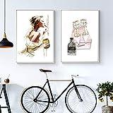 LLXHGMode Poster Drucken Mädchen Make-Up Leinwand