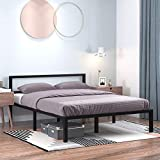 YITAHOME 14 Inch Platform Metal Bed Frame with Headboard, Strong Metal Slat Support Mattress Foundation, No Box Spring Needed, Queen Size, Black