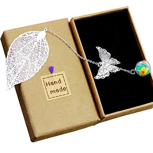 Toirxarn hermoso Marcapáginas de hojas de plumas de metal con mariposa 3D y cuentas de vidrio colgante de flor seca eterna. Regalo ideal para lectores, mujeres y niños.