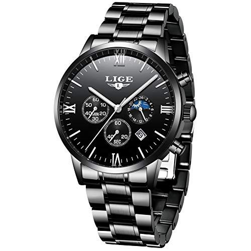 LIGE Herren Uhren Edelstahl Luxus Gold Schwarz Wasserdicht Chronograph Männer Armbanduhr Mann Elegant Datum Kalender Sport Dress Quarz Uhr