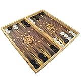 PrimoLiving Großes XXL Backgammon Spiel 50 x 47 cm klappbar mit Holzspielbrett -