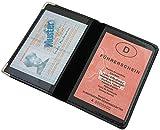 myledershop Ausweisetui/Ausweishülle/Ausweistasche/Kreditkartenetui/Kartenetui mit Metallschutzecken 4 Fächer in Schwarz