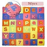 CCLIFE 36 Piezas Alfombra Puzzle para Niños Goma Espuma Suave Eva alfombras de Numeros 0 al 9 y 26 Letras