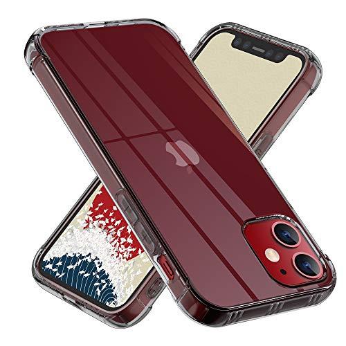【ONES】 iPhone 12 mini ケース 半透明·黒 耐衝撃 超軍用規格 『MagSafe、Qi充電、エアバッグ、半密閉音室』〔滑り止め、すり傷防止、柔軟〕〔美しい、光沢感、軽·薄〕 衝撃吸収 HQ·TPU 高級感 カバー (5.4インチ)