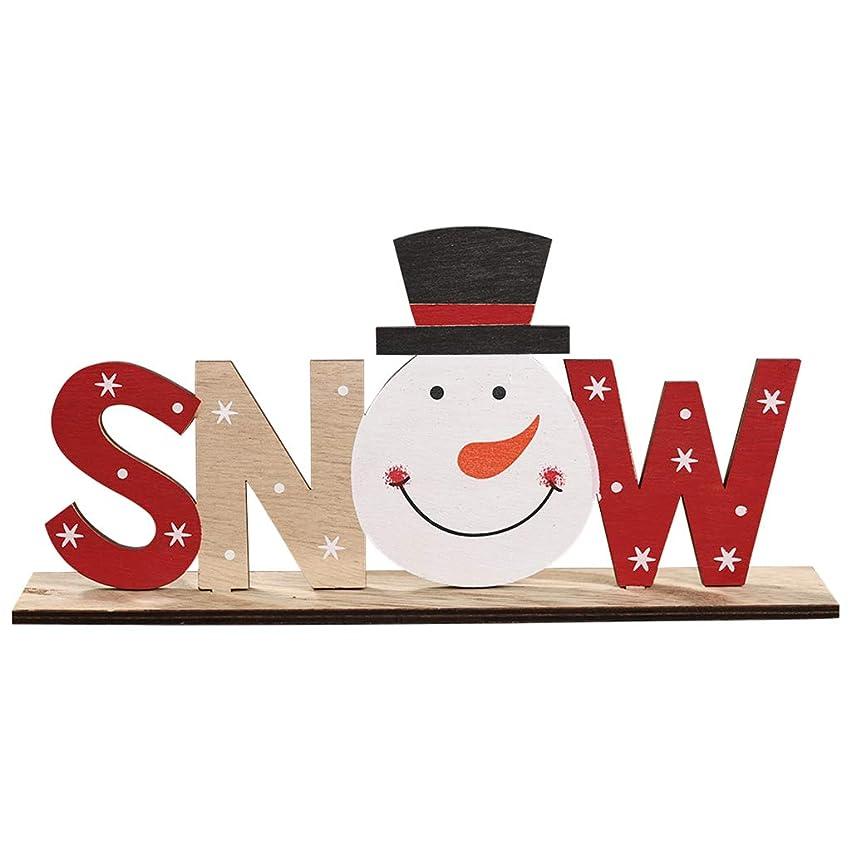 儀式テーマ情報ジャッキークリスマス木製プリントレターオーナメント-雪だるま木製自立手紙サインサンタクローススノーマンスノーフレーククリスマスパーティーホームデコレーションデスククリスマスギフト