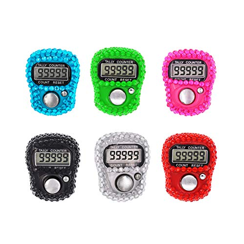 Finger Counter, 5 Digital Electronic Handheld Tally Counter Clicker with Flash Bling Design and Case - 6 Pcs