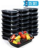 Meal Prep Containers with Lids [25 Set] Ideal-Lunch Containers, Food Prep Containers, Food Storage Bento Box, Portion Control | Stackable | Microwave | Dishwasher | Freezer Safe (24oz 1 Compartment)
