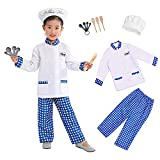 Wizland Child Role Play Costumes,Chef Dress Up Playset Kits for Kids XS 3-5yrs