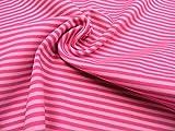 mollipolli-Stoffe Bündchen Streifen/Ringel rosa/pink 0,5m