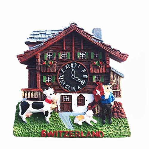 Imán para nevera 3D con diseño de reloj de cuco, estilo Suiza, recuerdo turístico, regalo para decoración del hogar y la cocina, pegatina magnética para nevera