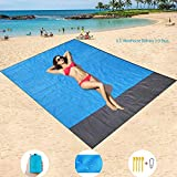"""FANER Beach Blanket Extra Large 83""""x79""""(210x200 cm) Picnic Blanket Waterproof Sandproof Resistant Blue Picnic Matfor for Beach Camping Hiking & Picnic"""