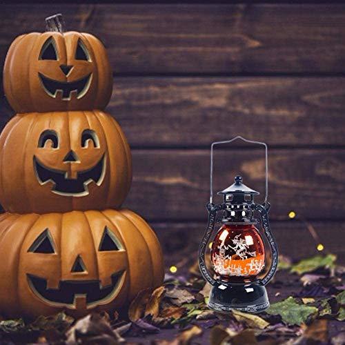 CHUIX Outdoor Halloween Dekoration Kürbis-Halloween-Hexe-Kürbis-Laterne Kürbis-Lampe Auf Halloween, Hexe Licht wenig Licht auf tragbares Öl, grün/lila/orange 6,5 × 6,5 × 13