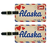 Graphics & More Air Mail Postcard Love for Alaska Luggage Suitcase Carry-on Id Tags, White