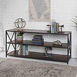 Walker Edison Furniture Company 2 Shelf Industrial Wood Metal Bookcase Bookshelf Storage, 60 Inch, Walnut Brown
