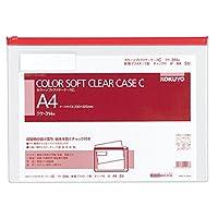 コクヨ クリアケース カラー チャック付 軟質タイプ A4 赤 クケ-314R
