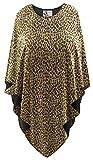 Sanctuarie Designs Plus Size Poncho Sparkling Gold & Black Glimmer Leopard Animal Print Cover-Up