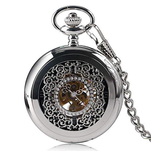 DZNOY Reloj de Bolsillo, Fashion Grilles Funda Plata Mano Sinuoso Mecánico Exquisito Esqueleto Talla Mujer Hombres Cadena Pendiente Reloj de Bolsillo (Color : Silver)